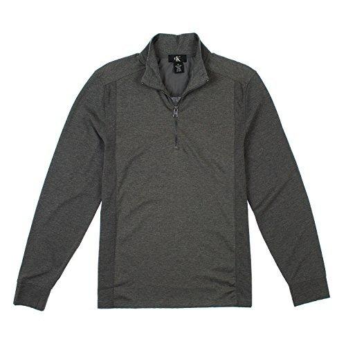 Calvin Klein Mens 1/4 Zip Long Sleeve Top L Dark Cliff Heather