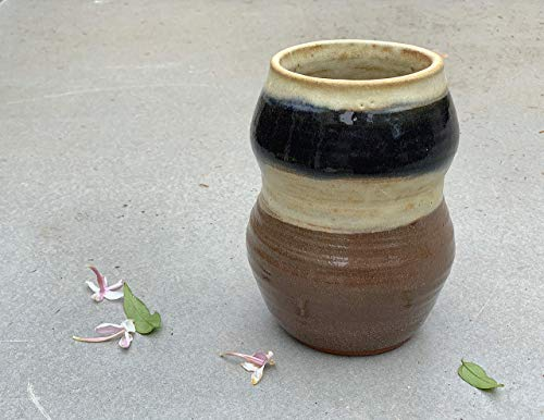 (Brown Black and Cream Vase, handmade pottery home decor)