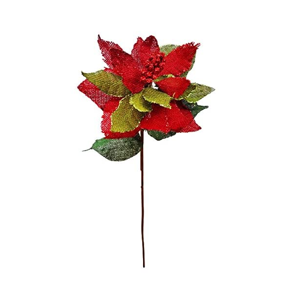 V-Max Floral Decor Burlap Poinsettia Spray (Pack of 12)