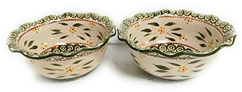 Old World Green S/2 Baker 1.0 Qt Ruffle Edge Bowl Dish Casserole Set of 2 K39692 Tkoutlet