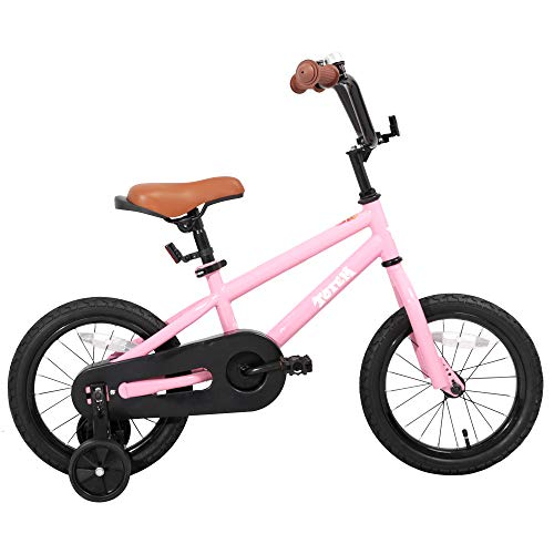 JOYSTAR Kids Bike for Girls 3 4 5 Years Old, 14 Inch Children Bicycle with Training Wheels, Child Bicycle with Foot Brake, Kids Cycle- Pink