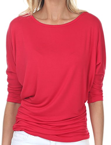 coul J WT208 Women's Boat Neck 3/4 Sleeve Dolman Side Shirring Drape Oversized Loose Fit Tunic Top - Red/Size: XX-Large -