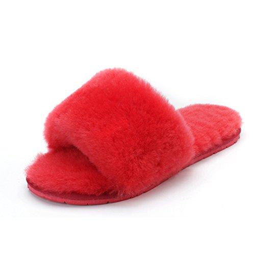 Pantofole In Lana Di Lana Con Frange Di Lana Pantofola Pantofole Di Pelliccia Pantofole Di Pelle Di Agnello Pantofole Rosse