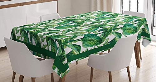 Green Decor Tablecloth,Large Tropical Leaves Pattern Jungle Beach Island Theme Party Decorations,Heavyweight Spill-Proof and Stain Resistant,61W X 100L Inch White Green ()