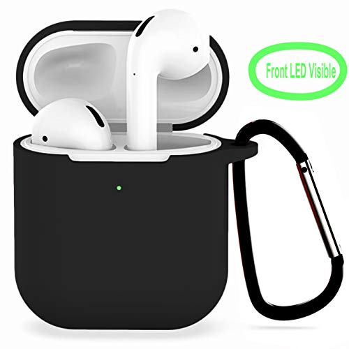 Compatible with Airpods 2 Wireless Charging Silicone Case, AirPods Case Protective Cover [Front LED Visible] Accessories Shockproof Skin Cover with Anti-Lost Carabiner Keychain-Black (Iphone Wazowski Case Mike 4)