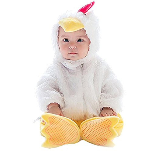 Lotus.flower Unisex Baby Animal Costume Lovely Hooded Rompers with Hat & Shoes (66cm Height, Chicken) (Baby Chicken Costumes)