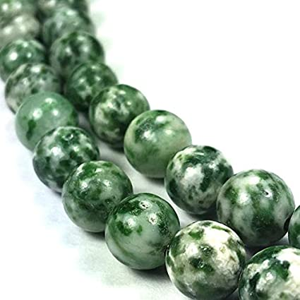 Green Bead Tree Agate 4mm Smooth Round Bead Semi Precious Beading Supplies Jewelry Supplies Natural Green and White Agate