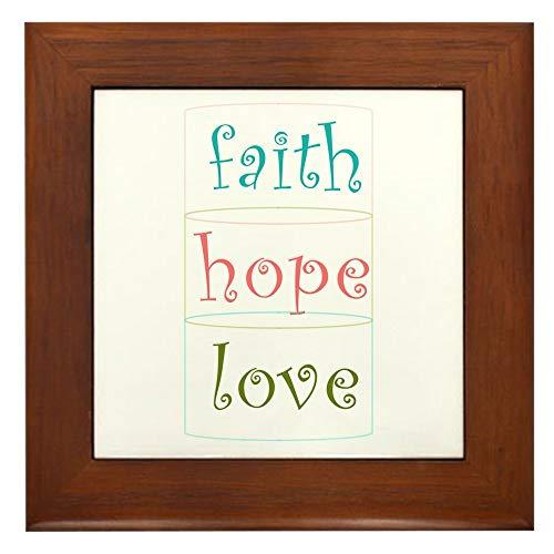 CafePress Faith Hope Love Framed Tile, Decorative Tile Wall Hanging - Hope Framed Tile
