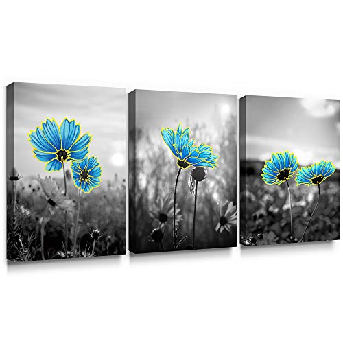 SUMGAR Bathroom Wall Art Blue Flower Pictures Floral Grey Canvas Paintings 3 Piece Grey Artwork Set,12x16 inch