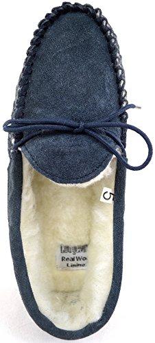 SNUGRUGS - Zapatillas de estar por casa de Ante para mujer Azul - azul marino
