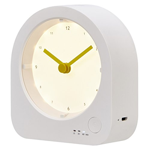 RTSU Rechargeable Desk Clock with Dimmable LED Night Light - Baby Nursery Kids Bedroom Bedside Lamp with Sleep Mode Timer - Digital Non Alarm Silent Quartz Analog Table Desktop Clock with Nightlight (For Ideas Simple Bedroom Women)