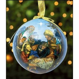 Set of 6 Round for We Have Seen His Star Holy Family Three Kings Nativity Decoupage Ornament (Decoupage Ornament Set)