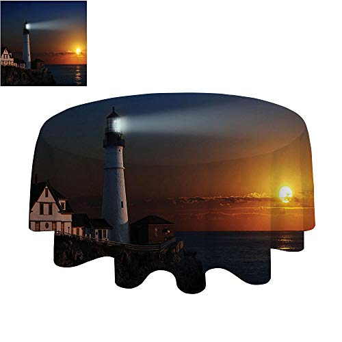 SATVSHOP Decorative Print Polyester Round Tablecloth-50Inch-Waterproof Fabric Table Cloth.Lighthouse Portland Headlight Light House at Dawn ocks Hous Fenc Lamp Lights Navigation.