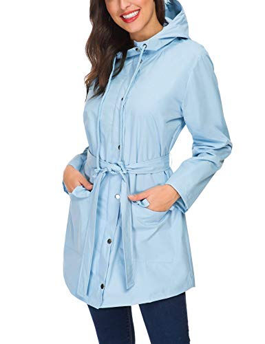 Women's Raincoat Waterproof Lightweight Rain Trenchcoat for Hiking Camping (Light Blue,XXL)