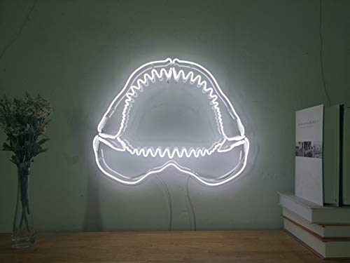Shark Jaw Bone Teeth Real Glass Neon Sign For Bedroom Garage Bar Man Cave Room Home Decor Handmade Artwork Visual Art Dimmable Wall Lighting Includes Dimmer