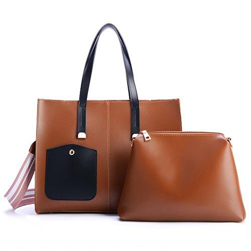 Women's Fashion Shoulder Bags Women's Leather Bag Crossbody Bag Travel Bags Handbag 2PCS Wallet Set (caramel) by WaHe