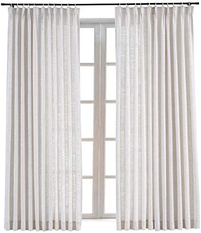 ChadMade Faux Linen Pinch Pleated Drapery Room Darkening Curtain Sliding Glass Door Living Room