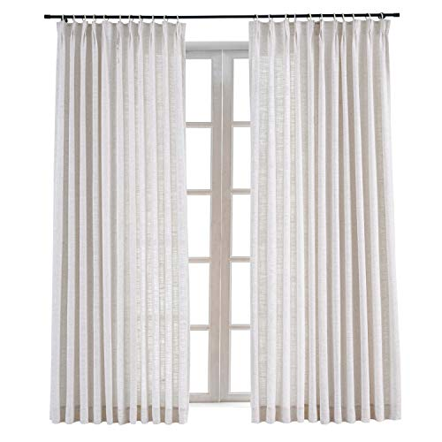 ChadMade Pinch Pleat Polyester Linen Drape Room Darkening Curtain Sliding Glass Door Living Room,52