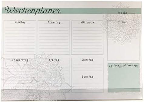 Schreibtischunterlage Papier mit Schutzleiste Wochenplaner/Notizen grün - grau 25 Blatt 59,4 x 42 cm DIN A2