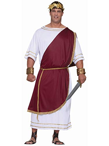 Forum Novelties Men's Plus-Size Extra Big Fun Mighty Caesar Costume, Red/White, -