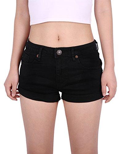 HDE Junior's Womens Mid Rise Stretchy Denim Jean Shorts (Black, XX-Large) ()