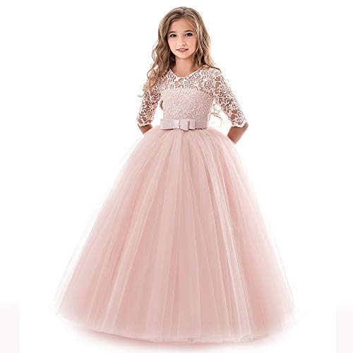 KISSOURBABY Little Girl Dresses Size 7 Pink Wedding Celebration Party Dresses Long Sleeve 8T A-Line Spring Proms Pageant Dresses for Girls Floor Length Ruffle Princess Dress for Girls (Pink140)]()