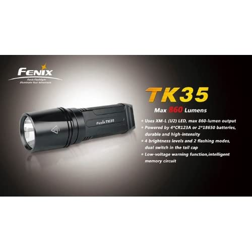 FENIX TK35 U2 860 Lumen Tactical LED Flashlight with 2 x