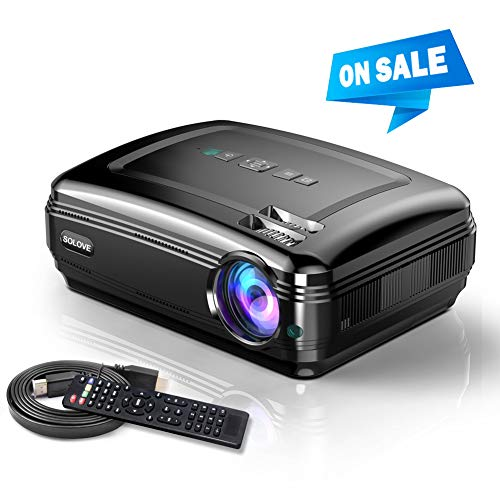 Video Projector, SOLOVE Full HD Overhead Projectors 1080P Supported,3800L HDMI Movie Projector for Home Theater and Office PowerPoint Presentation Compatible with Laptop,TV Stick,PC,PS4,iPhone (Presentation Projector Hd)
