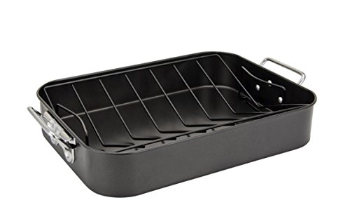 Home N Kitchenware Collection Non-stick Roaster with Rack, Carbon Steel, Turkey Roaster, Dishwasher safe, Strong handles