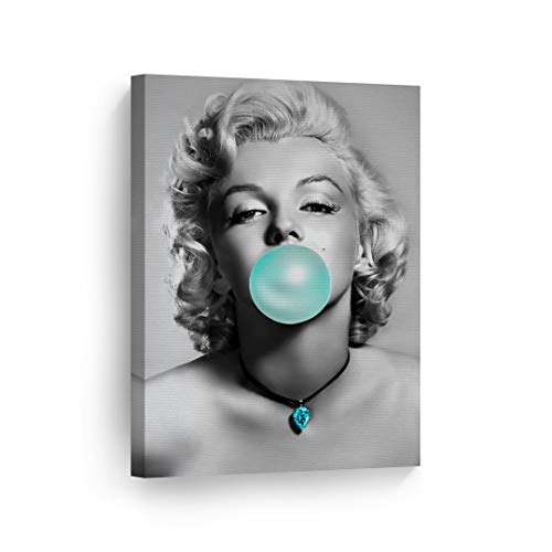 Marilyn Monroe Bubble Gum Chewing Gum Black and White Canvas Print Home Decor/Iconic Wall Art/Gallery Wrapped Canvas Art Stretched/Ready to Hang (12 x 8) ()