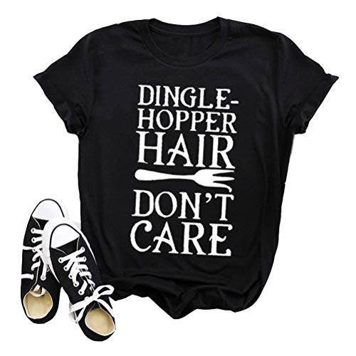 YourTops Women Dingle-Hopper Hair Don't Care Graphic T-Shirt Casual Tops Tee (US L, 2-Black) ()