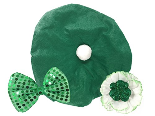 (Irish Tam Hat & Green Carnation Clip | Saint Patrick's Day Bundle)