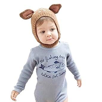 Misaky Baby Boys' Deer Cap, Cute Winter Warm Hat Free Size Coffee