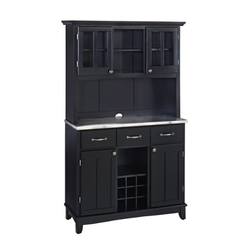 Home Styles 5100-0043-42 Buffet of Buffets Stainless Steel Top Buffet with Hutch, Black Finish, 41-3/4-Inch - Large Sideboard