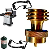 Heavy Duty EMERGENCY 1 LB Pound Propane Tank Conversion Adapter - Connect BBQ Grills - Grilling Backup Reserve Tool - Replacement for Disposable Bottle Adapter 100% Solid Brass Direct Fit Steak Saver