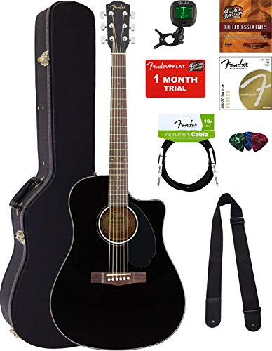 Black Dreadnought Acoustic Guitar - Fender CD-60SCE Dreadnought Acoustic-Electric Guitar - Black Bundle with Hard Case, Tuner, Strap, Strings, Picks, Instructional DVD, Polishing Cloth