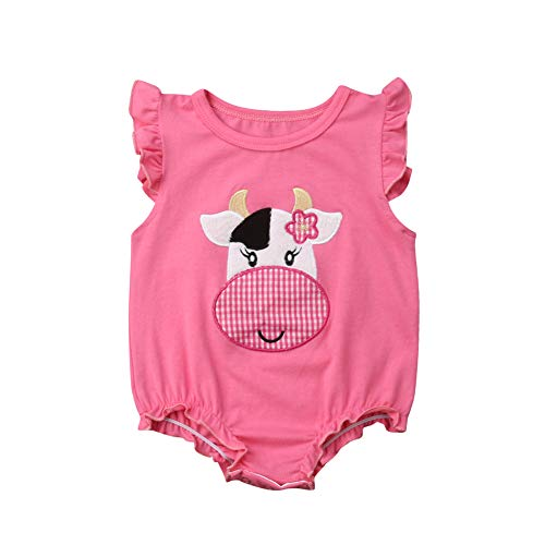 Newborn Baby Girl Summer Outfits Ruffle Sleeve Cartoon Animal Cow Print Bodysuit Romper Clothes 12-18 Months Pink -