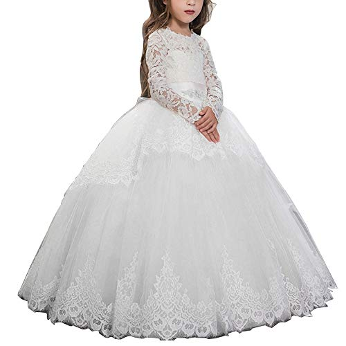 Vintage Princess Floral Lace 2017 Long Sleeves Flower Girls Dresses (Size 12, White) ()