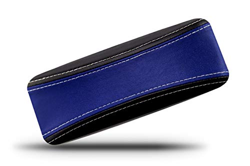 (Protective Glasses Case for Men and Women - Prevent Scratches on Your Glasses and Sunglasses - Premium Leather Felt Lined - 100% Satisfaction Guarantee - Blue on Black with White Stitching)