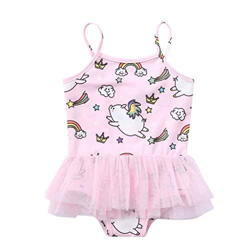 TEVEQ Kids Baby Girls Swimwear Cartoon Pig Print Summer Swimsuit Vest Romper Jumpsuits Pink
