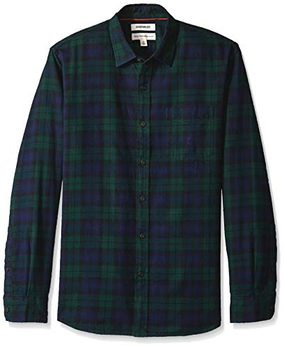 Goodthreads Men's Standard-Fit Long-Sleeve Brushed Flannel Shirt, Navy Black Watch Plaid, XX-Large ()