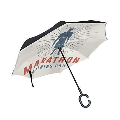 ONELUCA Vintage Marathon Run Logo Reverse Golf Umbrellas Double Layer Inverted Folding Umbrella with C-Shaped Handle for Outdoor Travel