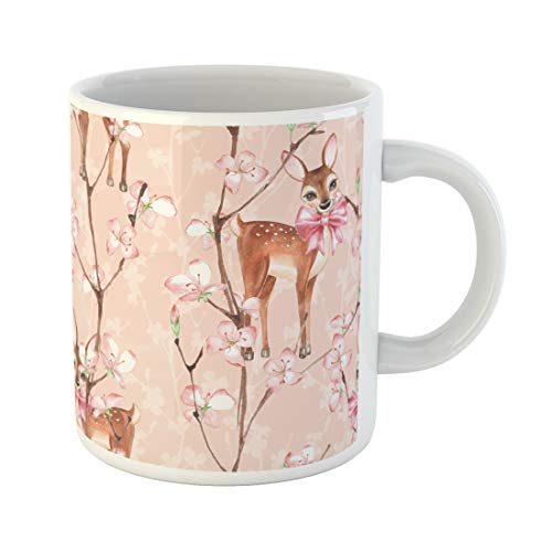 - Semtomn Funny Coffee Mug Animal Cherry Blossom and Fawns Watercolor Floral Pattern Artistic 11 Oz Ceramic Coffee Mugs Tea Cup Best Gift Or Souvenir