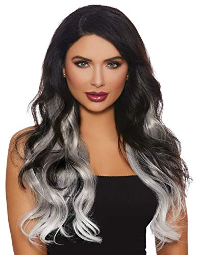 Dreamgirl Women's Long Wavy Gray/White Ombré Three-Piece Hair Extensions, One Size ()