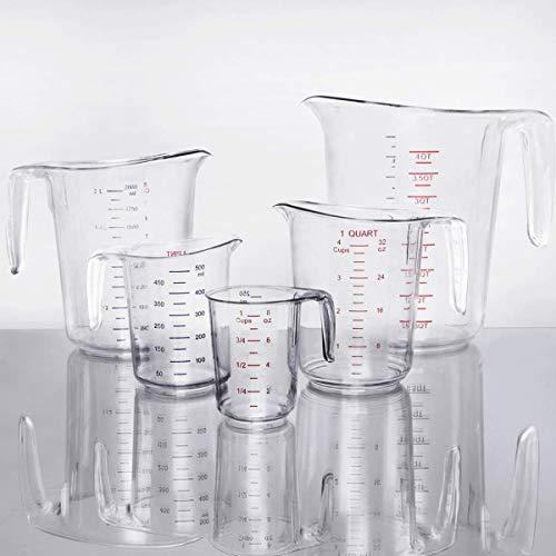 MM Foodservice 5-Piece Measuring Cup Set, Break-Proof Polycarbonate Set of 5 (1 Cup, 1 Pint, 1 Qt, 2 Qt, 3 Qt)