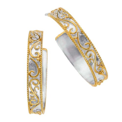 (Michou Sterling Silver & Gold Overlay Earrings)