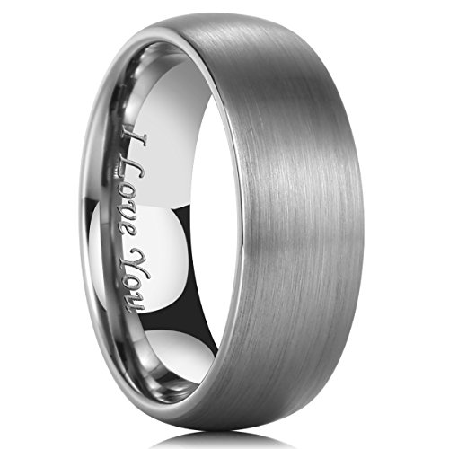 King Will TYRE 8mm I LOVE YOU Laser Domed Matte Finish Tungsten Carbide Wedding Ring 10.5 by King Will