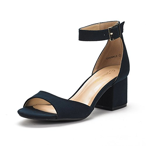 Dream Pairs Women's Chunkle Navy Suede Low Heel Pump Sandals - 10 M (Navy Blue Strap)