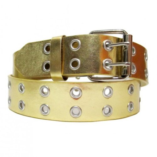 Gold Genuine Belt (Solid Rich Fashion Color Double Grommet Genuine Leather Casual Jean Belt 35mm Medium)
