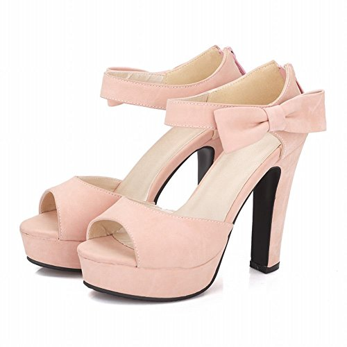 Bows Shoes Show Pink Shine Leather Stiletto Sandals Back Platform heel PU Sweet Womens High a76xq8Saw